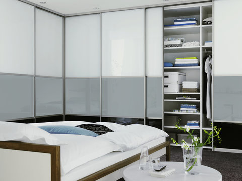 Built-in closet, Gliding doors, Sliding doors, Corner solution, Bedroom